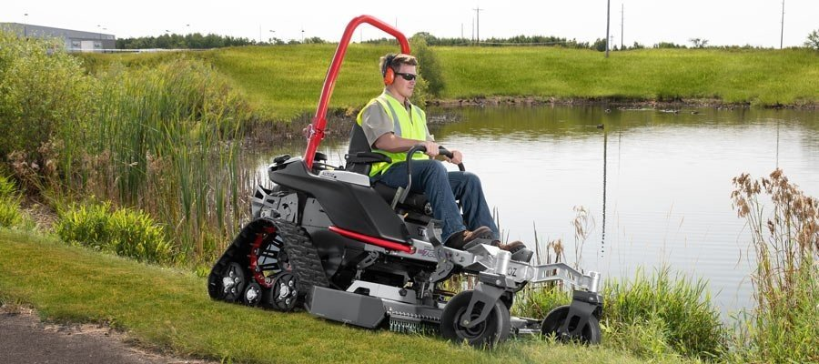 zero turn mower by pond